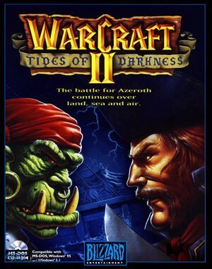 An orc with a pirate's bandanna, a large hoop earring and a smaller hoop nosering, glowers with beady eyes and a pair of tusks at a bearded man in a tricorn hat and the collar of a naval officer's jacket just cresting the bottom of the box art